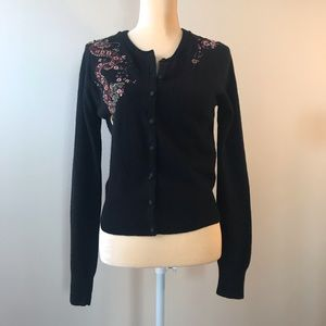 Lucky Brand Black Button Up Sweater w/ Embroidery